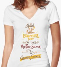 Another Beautiful Day at the Red Pony Saloon Women's Fitted V-Neck T-Shirt