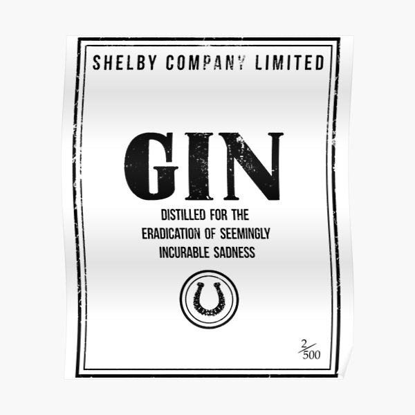 Peaky Blinders T-ShirtShelby Company Limited Gin Label Peaky Blinders Poster