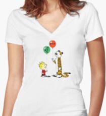 calvin and hobbes ballon Women's Fitted V-Neck T-Shirt
