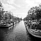 Boats along the Prinsengracht in Amsterdam by Martin Pot