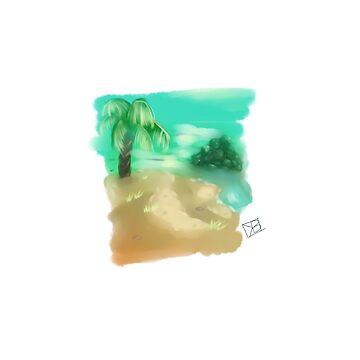 Caribbean Beach by dolfinsdoodles