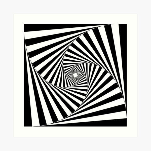 Black and White Psychedelic Spiral Tunnel Art Print