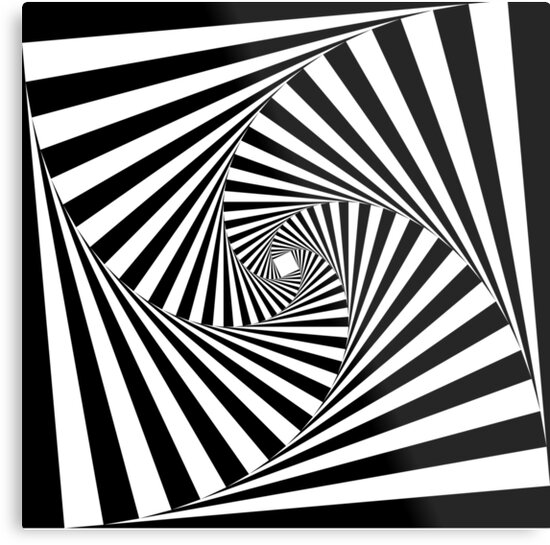 """Black and White Psychedelic Spiral Tunnel"" Metal Print by ..."