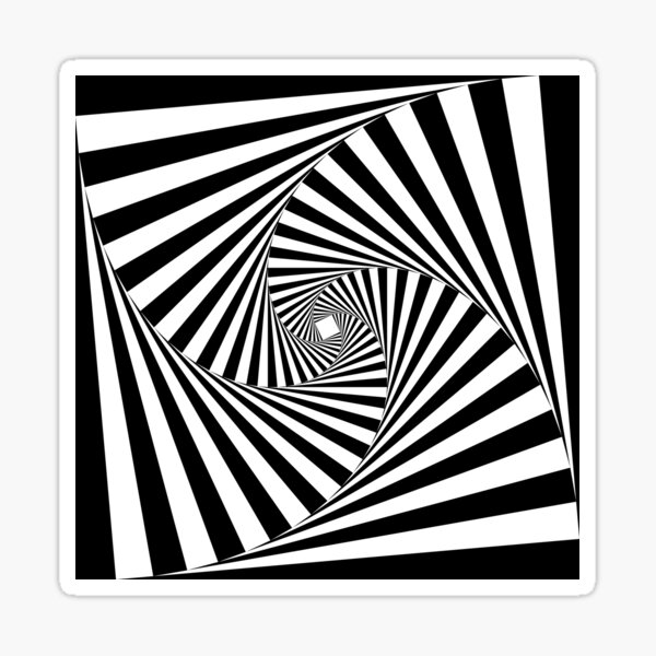 Black and White Psychedelic Spiral Tunnel Sticker