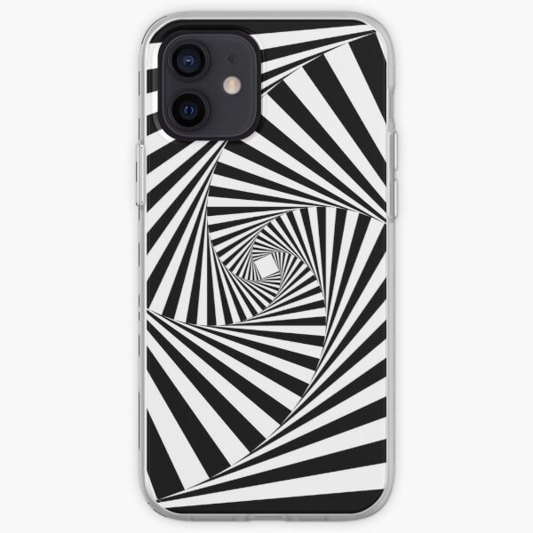 Black and White Psychedelic Spiral Tunnel iPhone Soft Case
