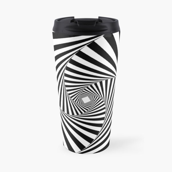Black and White Psychedelic Spiral Tunnel Travel Mug