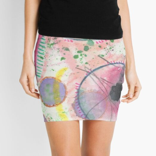 80s Color Pop Abstract Mini Skirt