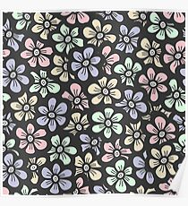 Cute retro color floral pattern Poster