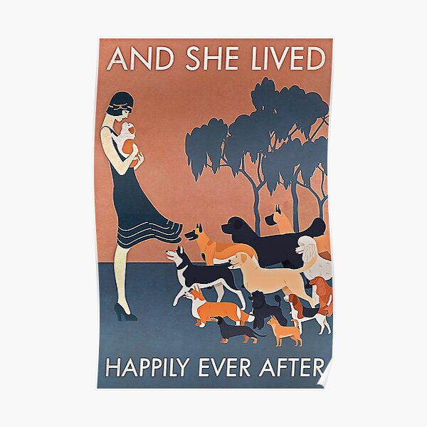 Vintage Girl And Dog And She Lived Happily Ever After Poster