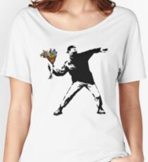 Banksy - Rage, Flower Thrower Women's Relaxed Fit T-Shirt