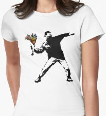 Banksy - Rage, Flower Thrower Women's Fitted T-Shirt