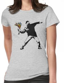 Banksy - Rage, Flower Thrower Womens Fitted T-Shirt