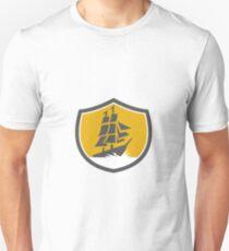Sailing Galleon Tall Ship Crest Retro T-Shirt