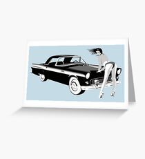 Pin-up girl & hot car  Greeting Card