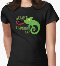 Crazy Chameleon lady Women's Fitted T-Shirt