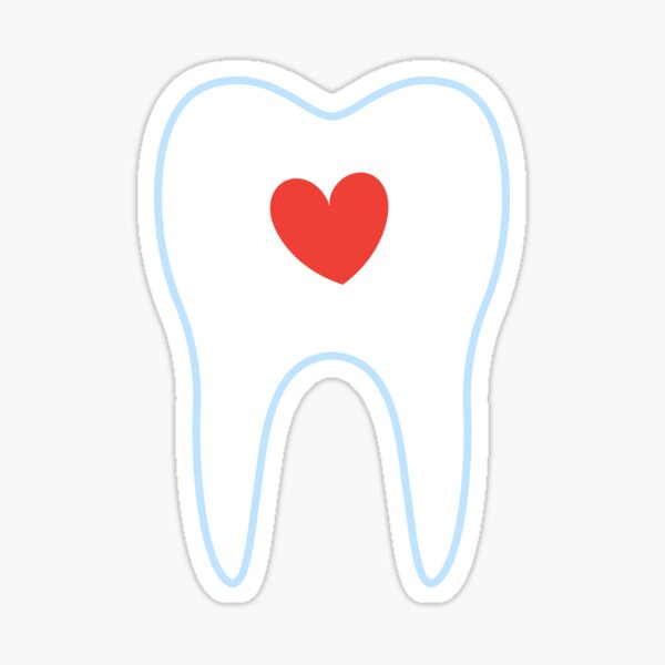 Tooth with red heart sticker Sticker