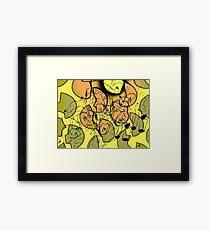 Camuflage cat - black, green and orange Framed Print