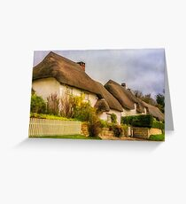 Picture postcard thatched cottages Greeting Card