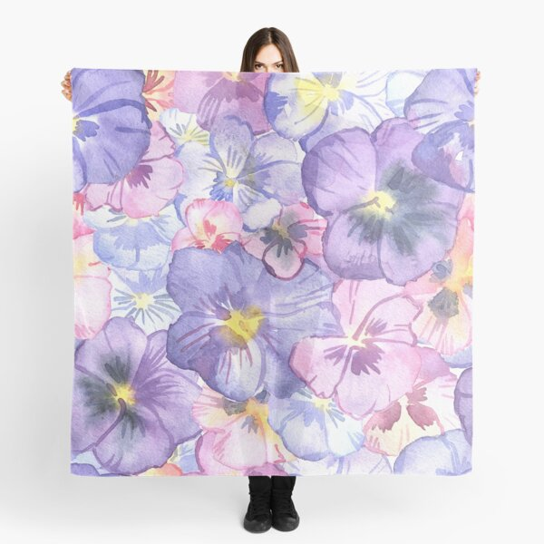 Watercolor Pansy Flowers Scarf