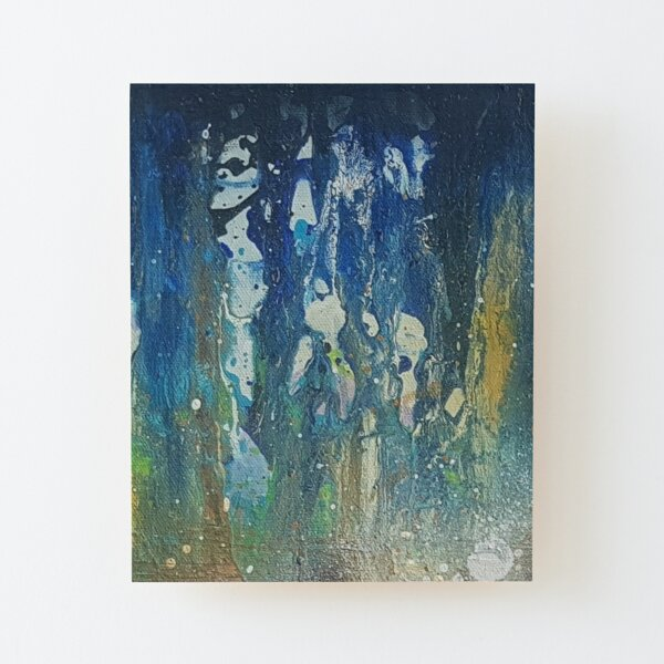 Beautiful Abstract Oil Painting Design with Ocean Colors Wood Mounted Print