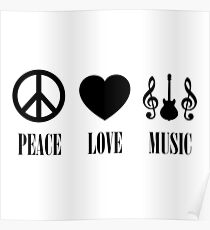 peace Love Music (Black) Poster