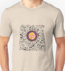 dudling patterns and ornaments from various monsters and blond girl with a crown T-Shirt