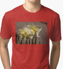 Pastel Yellow Spring - a Pair of Double Daffodils Tri-blend T-Shirt