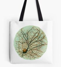 Dendritic tree and spines of an hippocampal neuron - watercolor - green Tote Bag