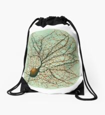 Dendritic tree and spines of an hippocampal neuron - watercolor - green Drawstring Bag