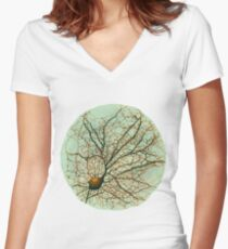 Dendritic tree and spines of an hippocampal neuron - watercolor - green Women's Fitted V-Neck T-Shirt