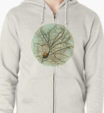 Dendritic tree and spines of an hippocampal neuron - watercolor - green Zipped Hoodie