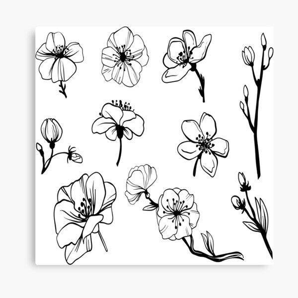 black and white plant artwork 2021 Canvas Print
