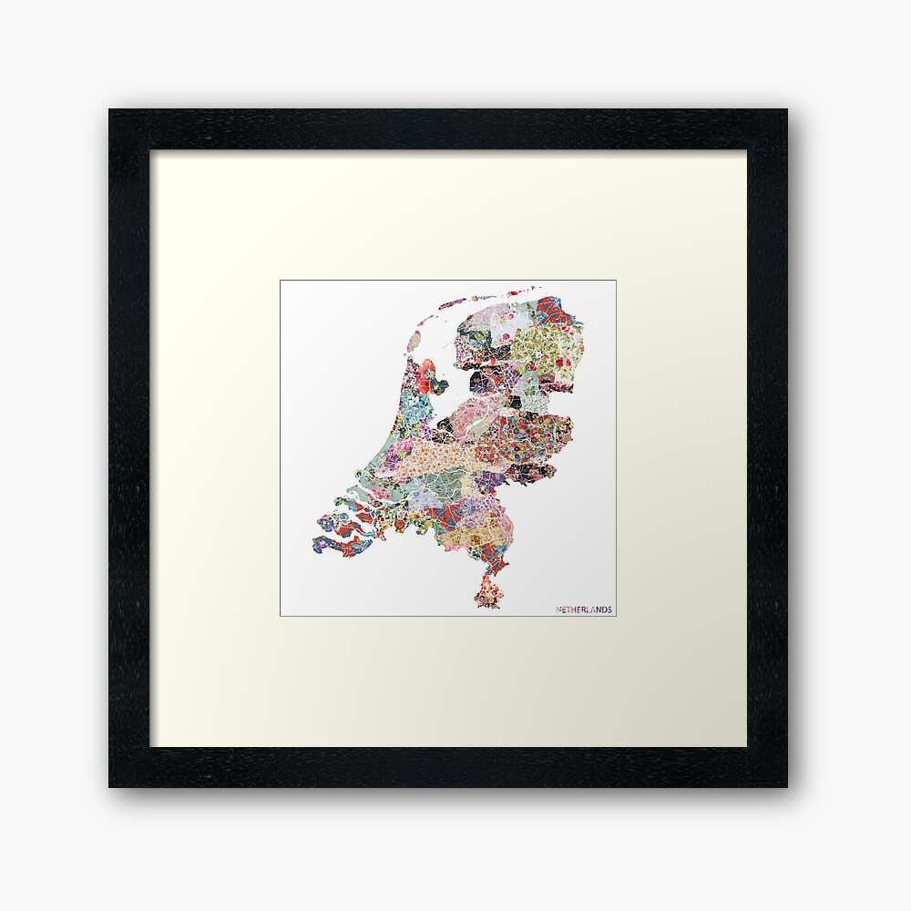 Netherlands map Framed Art Print