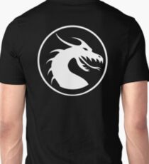 DRAGON, HEAD, CIRCLE, SYMBOL, LOGO, WHITE on BLACK T-Shirt