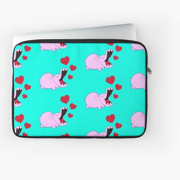 The Happy Hippo with hearts Laptop Sleeve