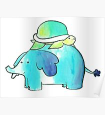 Turtle and Elephant Watercolor Poster