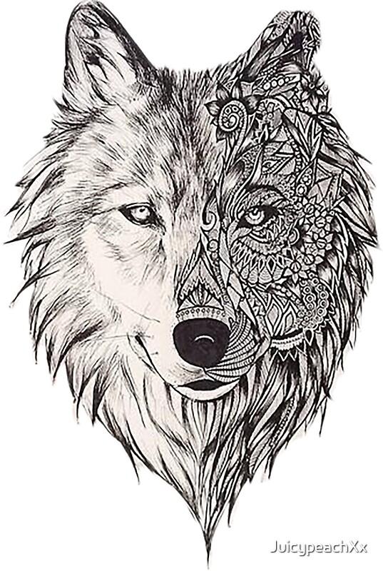 Quot Mandala Wolf Vol 2 Quot Stickers By Juicypeachxx Redbubble