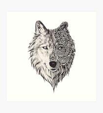 Mandala De La Geometría Lobo Del Círculo Detalles Sombra En Calma