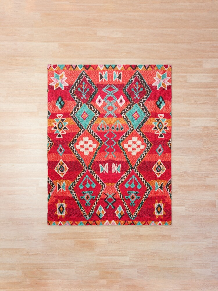 Alternate view of Red Oriental Heritage Berber Colored Moroccan Style Comforter