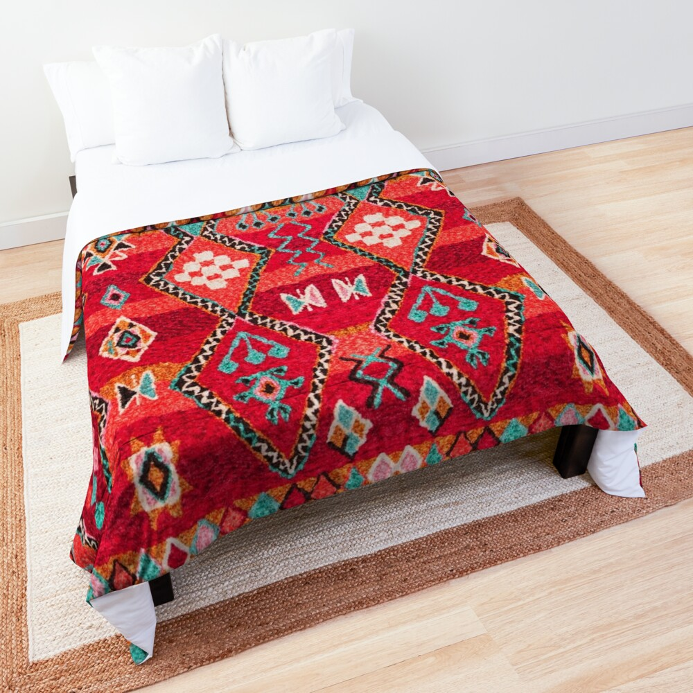 Red Oriental Heritage Berber Colored Moroccan Style Comforter