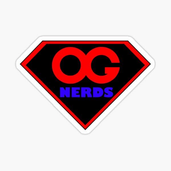 OG NERDS Logo Superhero Shield Red and Blue Sticker