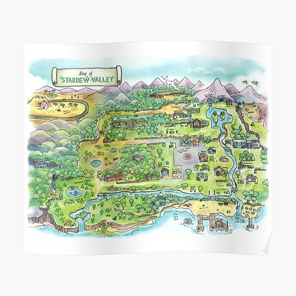 Stardew Valley Map Poster Poster