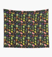 Fruit and vegetables English alphabet on dark Wall Tapestry