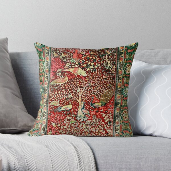 Antique Persian Rug Bird Tree Flowers ca. 1600 Print Throw Pillow