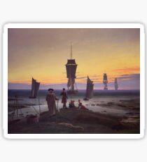Vintage famous art - Caspar David Friedrich  - The Stages Of Life Sticker