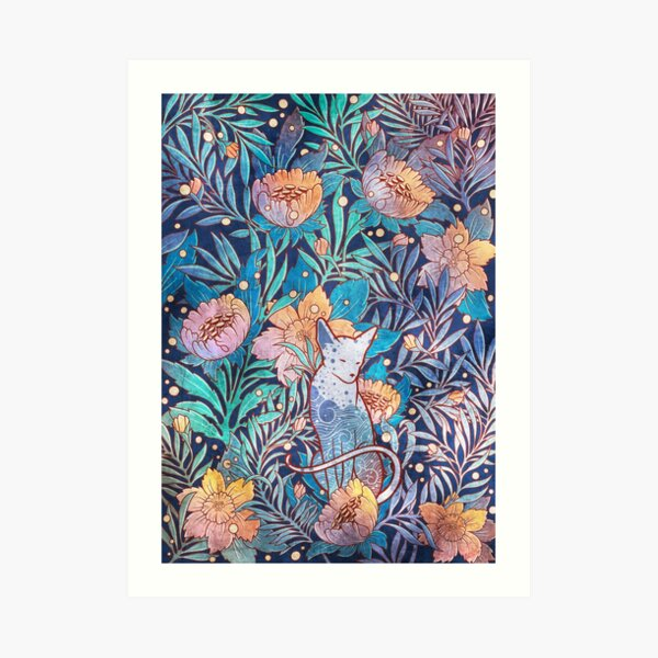 Sphynx and willow bloom Art Print