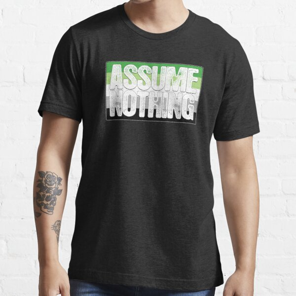 Assume Nothing Aromantic Pride Flag Essential T-Shirt