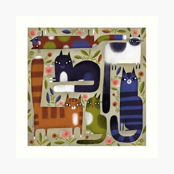 FIELD OF CATS Art Print