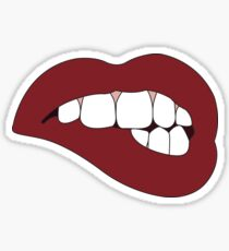 Dark Red Lip Bite Sticker