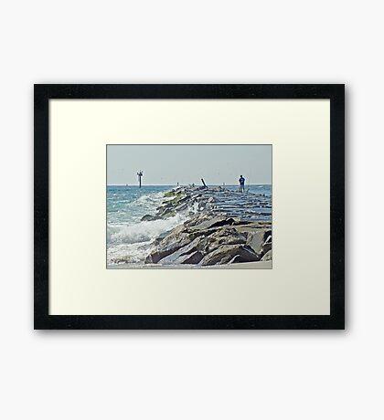 Fishing the Jetty - Island Beach State Park   NJ Framed Print